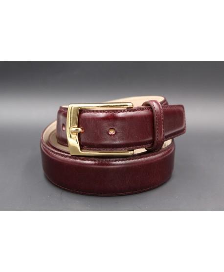 Purple smooth leather belt big size - golden buckle