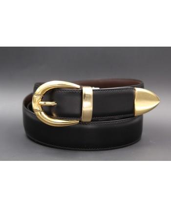 Black cowhide leather belt with smooth metal tip