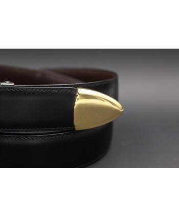 Ceinture en cuir vachette noir embout métallique lisse - détail pointe