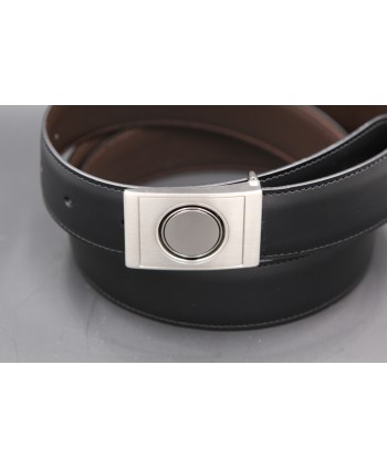 Ceinture réversible en cuir noir et marron boitier nickel - côté noir - détail