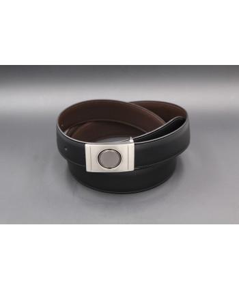 Ceinture réversible en cuir noir et marron boitier nickel - côté noir