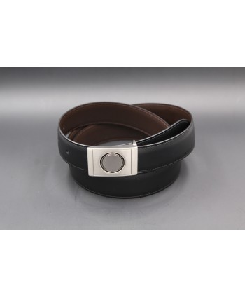 Reversible belt in black and brown leather, nickel case - black side