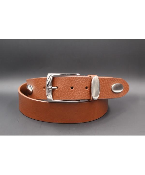 Cognac large cowhide leather belt