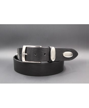 Black large cowhide leather belt