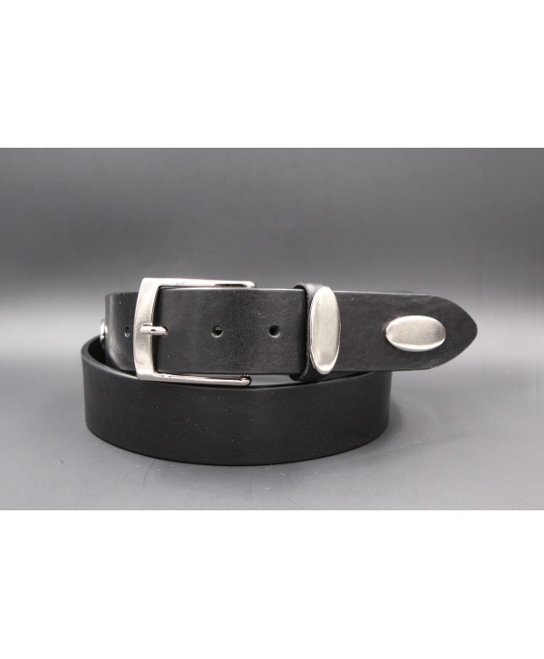 Black large cowhide leather belt