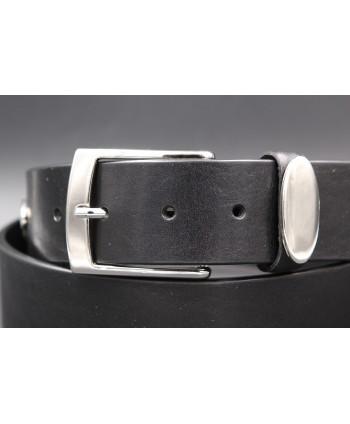 Black large cowhide leather belt - buckle detail