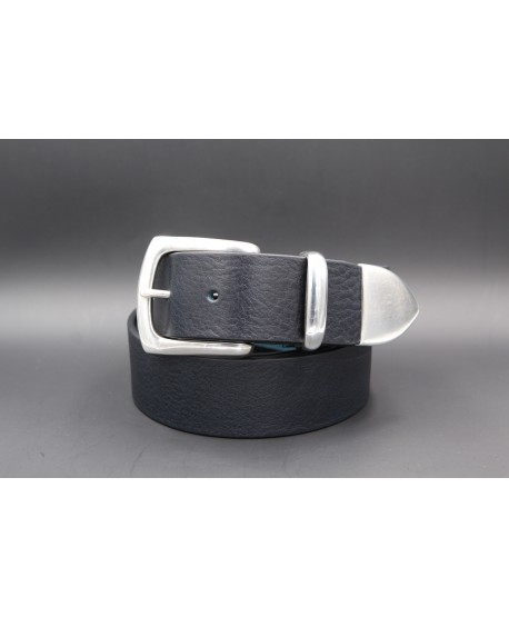 Black large soft leather belt and metal tip