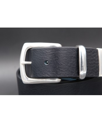 Black large soft leather belt and metal tip - buckle detail