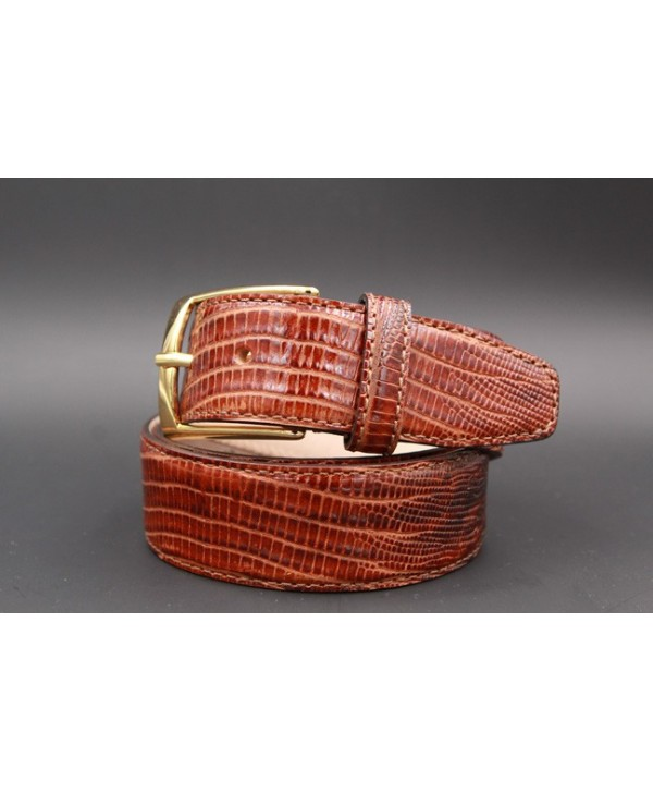 Lizard-style brown leather belt - golden buckle
