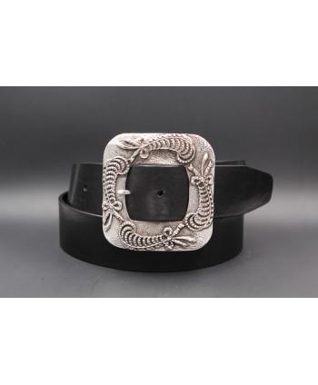 Black women's belt 45 mm square buckle