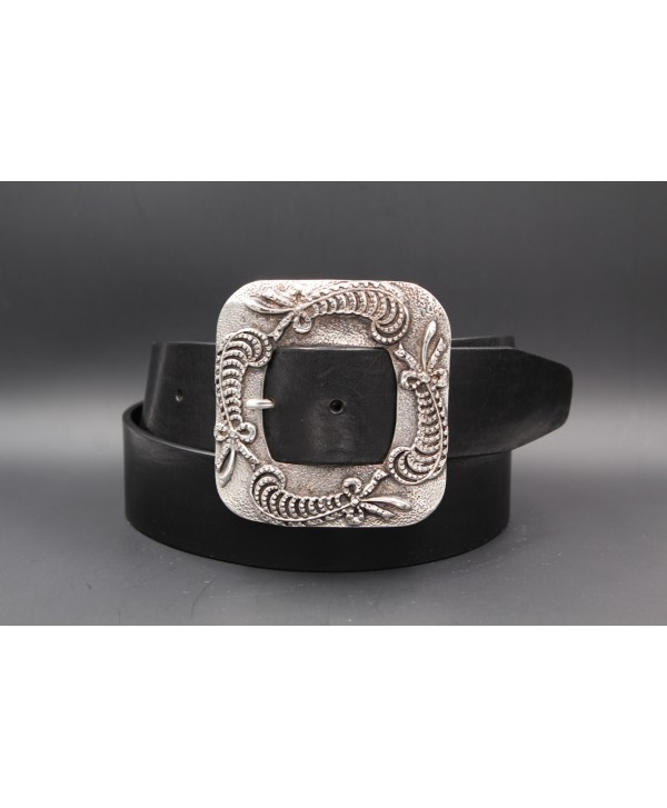 Ceinture femme cuir noir 45 mm boucle carré