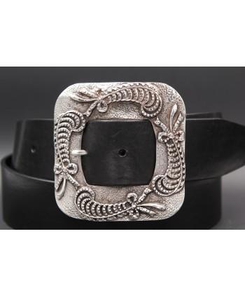 Black women's belt 45 mm square buckle - buckle detail