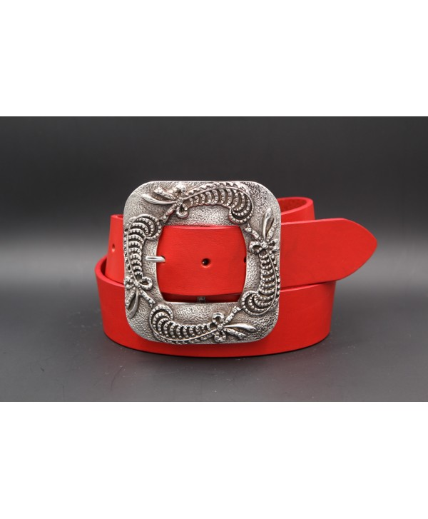 Red women's belt 45 mm square buckle