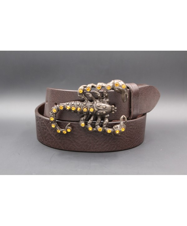 Scorpion buckle large dark brown leather belt