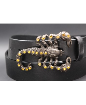 Scorpion buckle large black leather belt - buckle detail