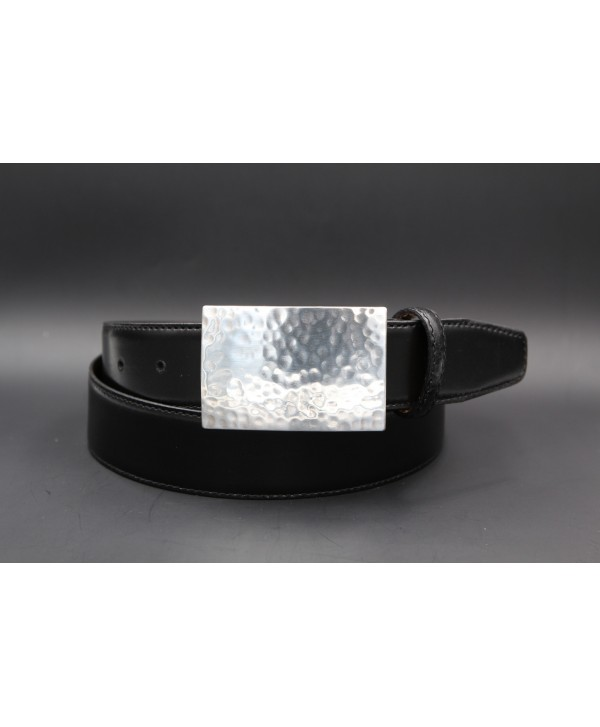 Black large leather belt with hammered metal buckle