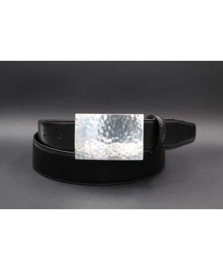 Ceinturon cuir noir boucle métal martelé