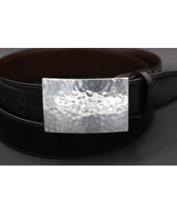 Ceinturon cuir noir boucle métal martelé - détail boucle