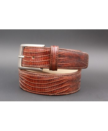 Lizard-style brown leather belt - nickel buckle