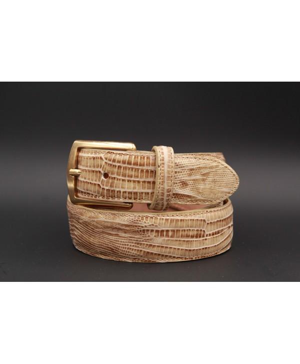 Lizard-style beige leather belt - golden buckle