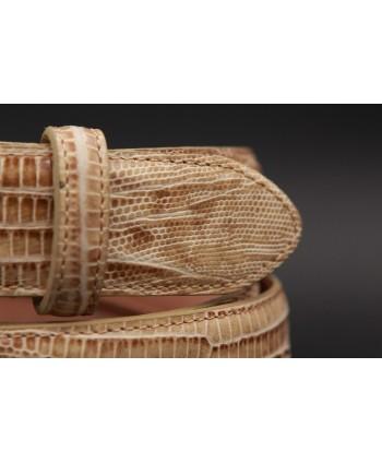 Lizard-style beige leather belt - detail