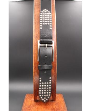 Black studded large belt - buckle detail