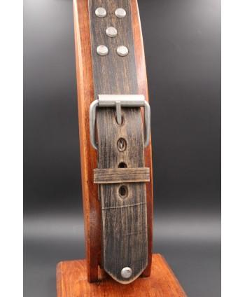 Brushed brown studded large belt - buckle detail
