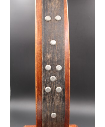 Brushed brown studded large belt - detail