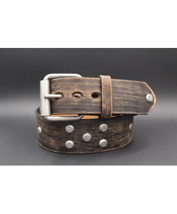 Brushed brown studded large belt