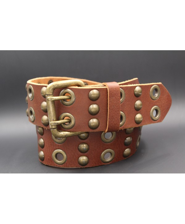 Brown large western leather belt double barb with rivets and studs