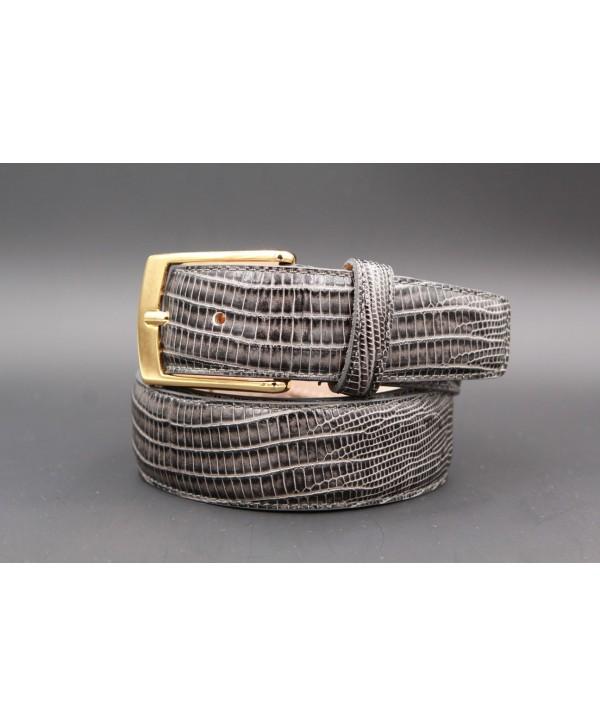 Lizard-style grey leather belt - golden buckle