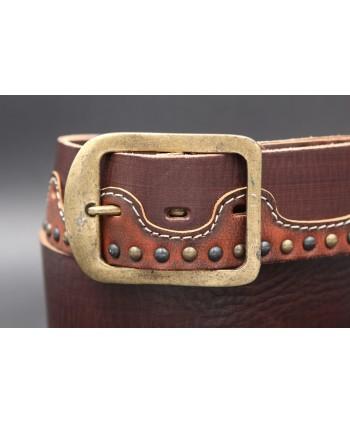 Ceinturon en cuir Western - détail boucle