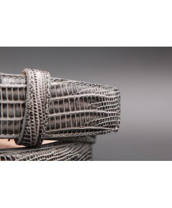 Lizard-style grey leather belt - detail