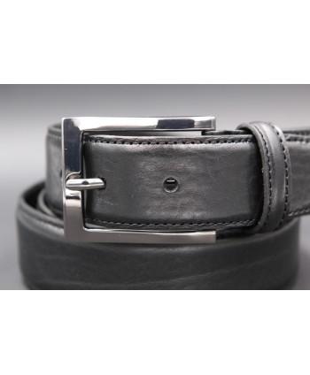 Black soft leather belt - buckle detail