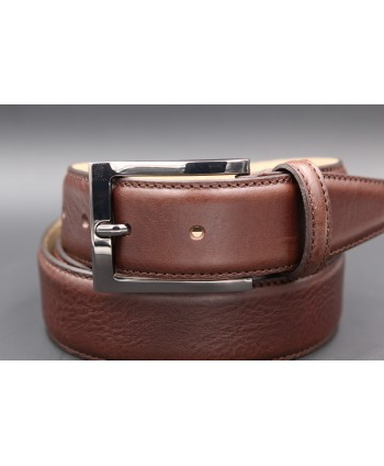 Brown soft leather belt - buckle detail