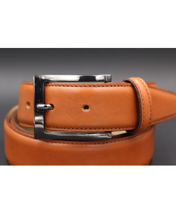 Camel soft leather belt - buckle detail
