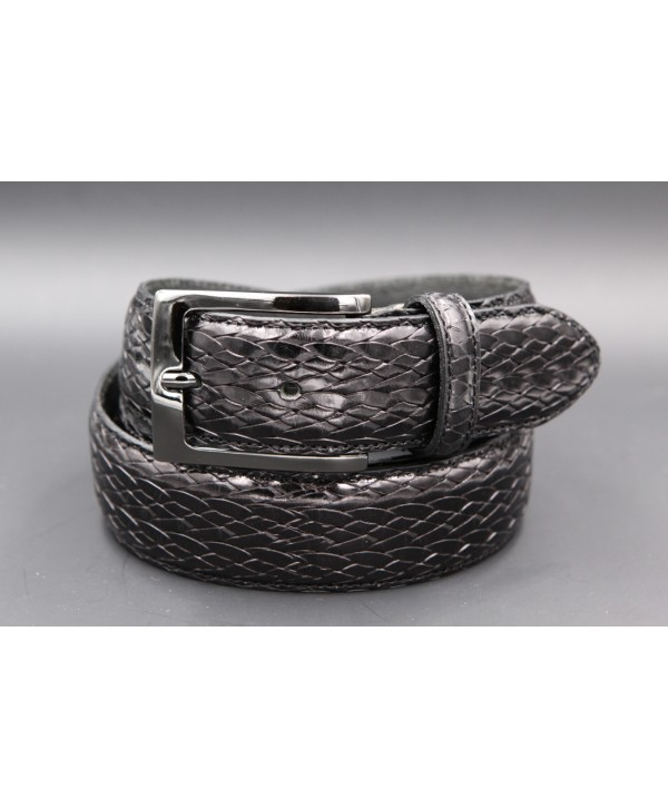 Black braided style leather belt