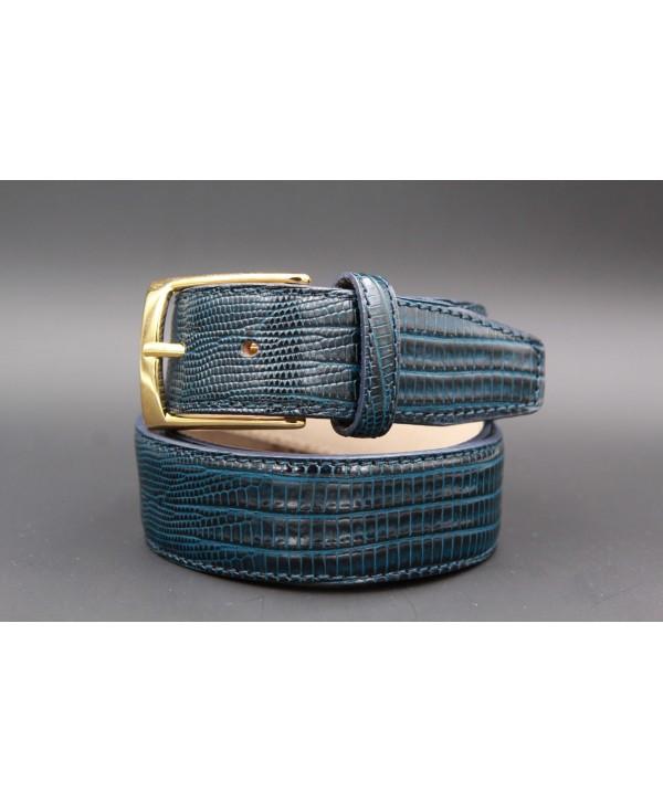 Lizard-style navy leather belt - golden buckle