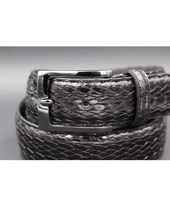 Black braided style leather belt - buckle detail