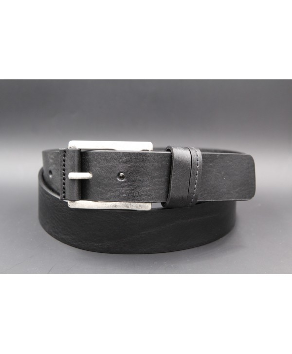 Black full grain cowhide leather belt