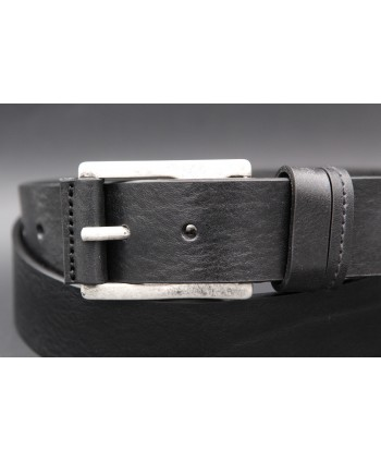 Black full grain cowhide leather belt - buckle detail