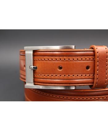 Camel stitched large belt - Brushed nickel pin buckle - buckle detail