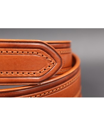 Camel stitched large belt - Brushed nickel pin buckle - pin detail