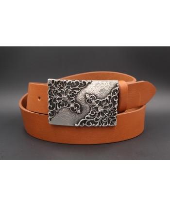 Ceinturon cuir de vachette camel boucle motif baroque