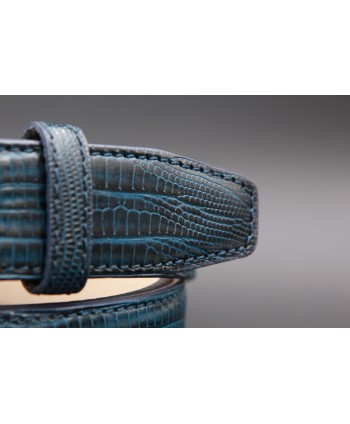 Lizard-style navy leather belt - detail