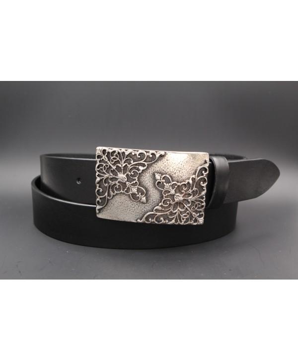 Ceinturon cuir de vachette noir boucle motif baroque