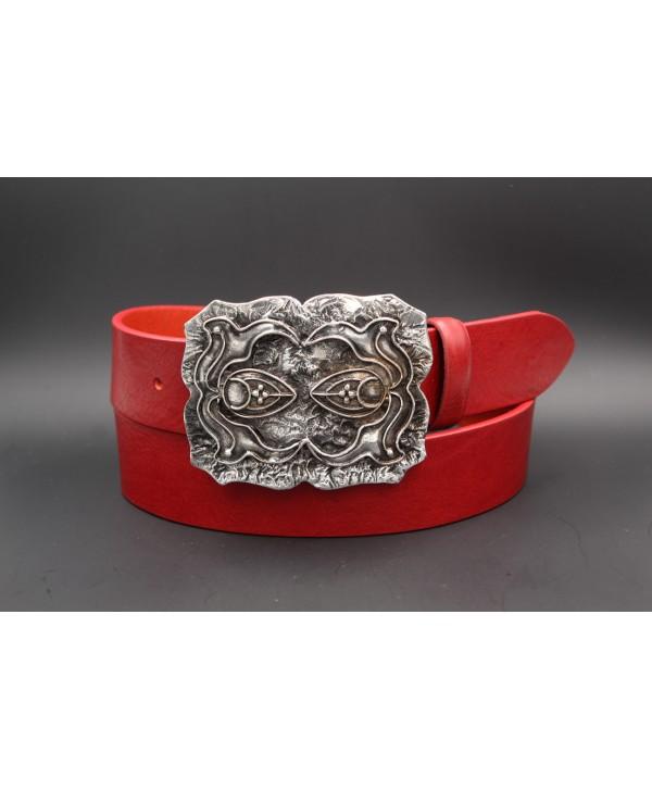 Ceinturon cuir de vachette rouge boucle motif baroque