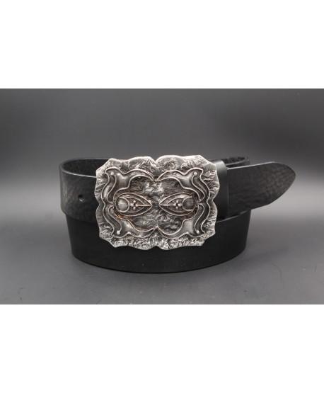 Black cowhide belt baroque buckle