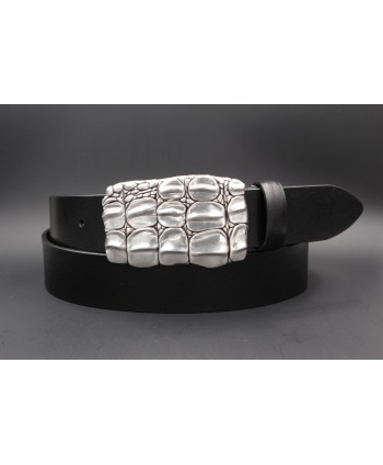 Black cowhide belt with tortoiseshell buckle