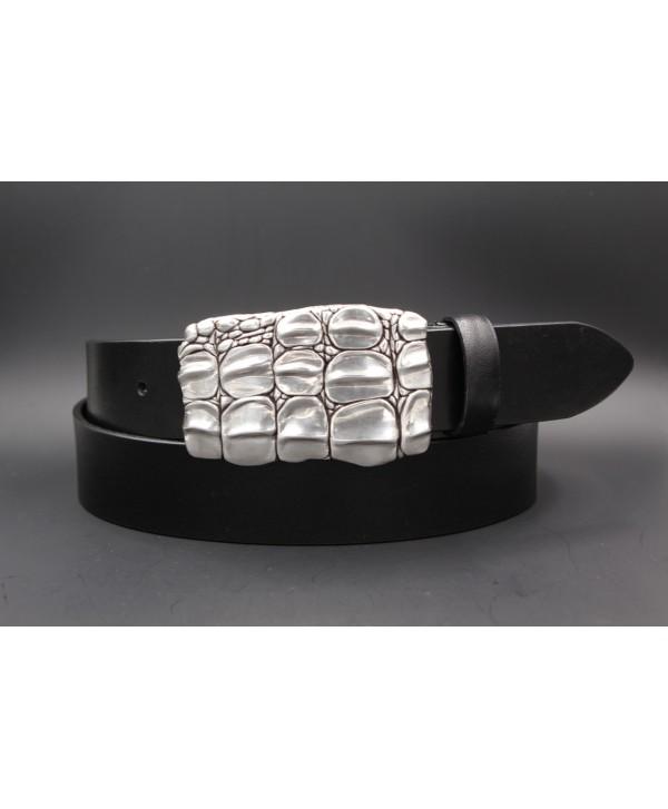 Ceinturon cuir de vachette noir boucle motif écaille